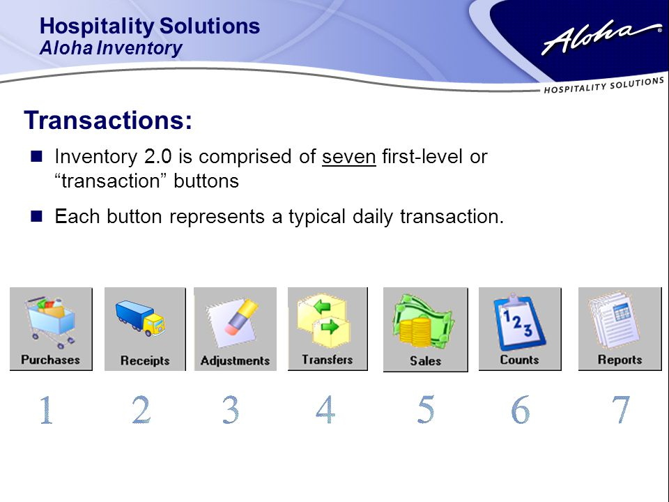 n Inventory 2.0 is comprised of seven first-level or transaction buttons Hospitality Solutions Aloha Inventory Transactions: n Each button represents a typical daily transaction.