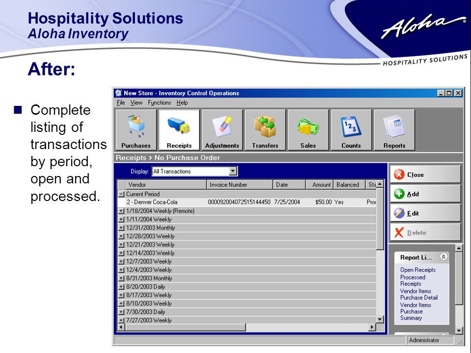 Hospitality Solutions Aloha Inventory After: n Complete listing of transactions by period, open and processed.