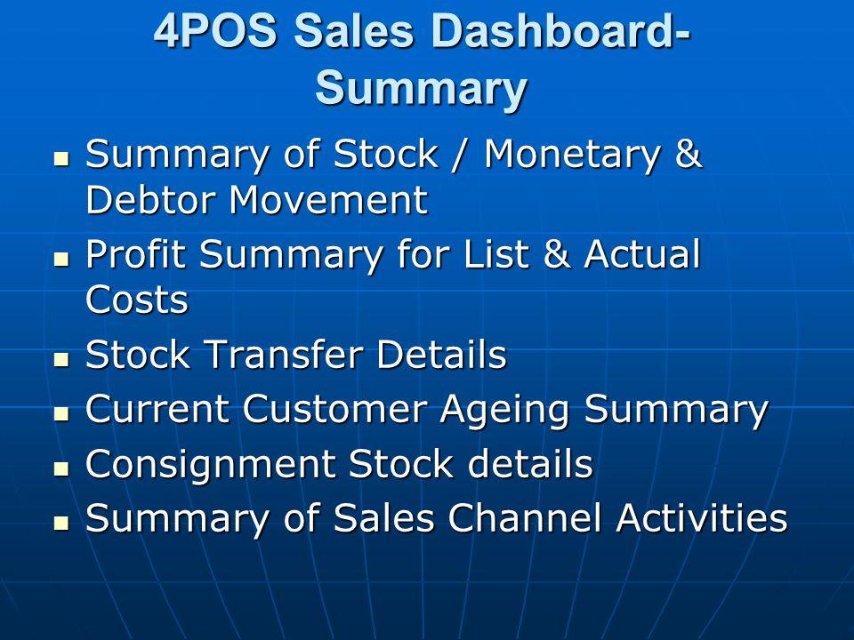 4POS Sales Dashboard- Summary Summary of Stock / Monetary & Debtor Movement Summary of Stock / Monetary & Debtor Movement Profit Summary for List & Ac