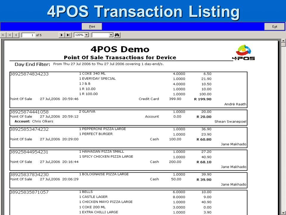 4POS Transaction Listing