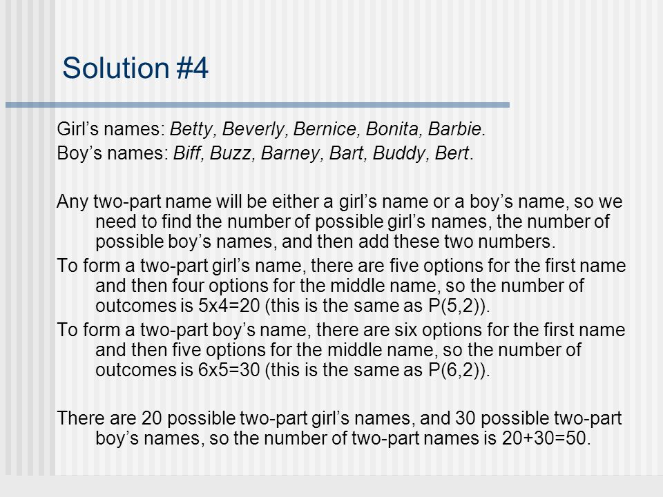 Solution #4 Girls names: Betty, Beverly, Bernice, Bonita, Barbie.