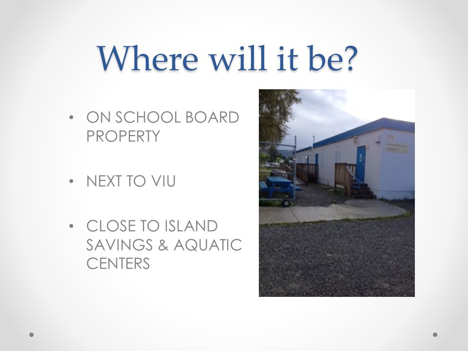 Where will it be? ON SCHOOL BOARD PROPERTY NEXT TO VIU CLOSE TO ISLAND SAVINGS & AQUATIC CENTERS