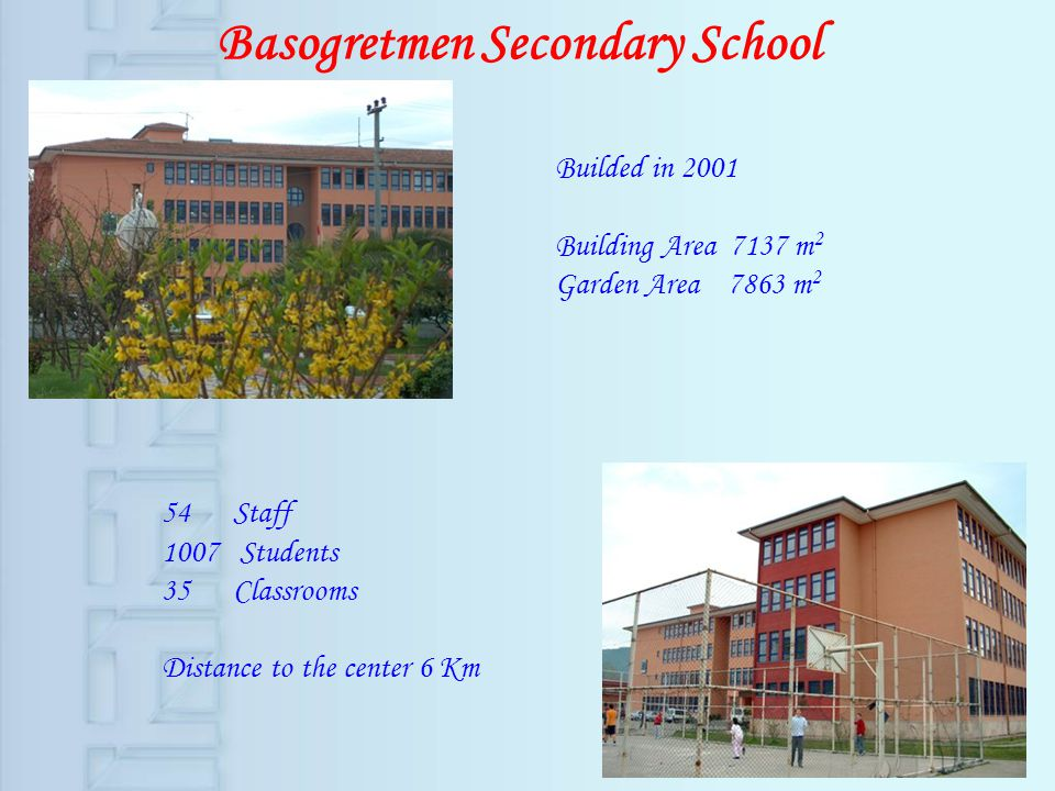Basogretmen Secondary School Builded in 2001 Building Area 7137 m 2 Garden Area 7863 m 2 54 Staff 1007 Students 35 Classrooms Distance to the center 6 Km