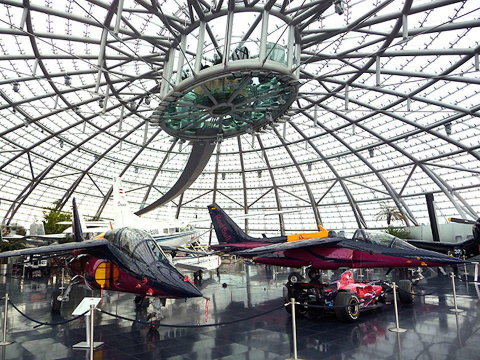 At the center of Hangar 7's ceiling hangs an unusual meeting room. Building codes require two exits for every room, so in addition to the winding walk