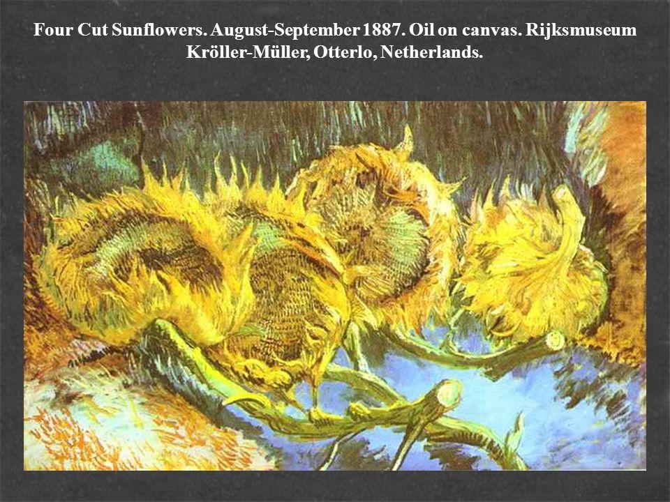 Four Cut Sunflowers. August-September 1887. Oil on canvas. Rijksmuseum Kröller-Müller, Otterlo, Netherlands.