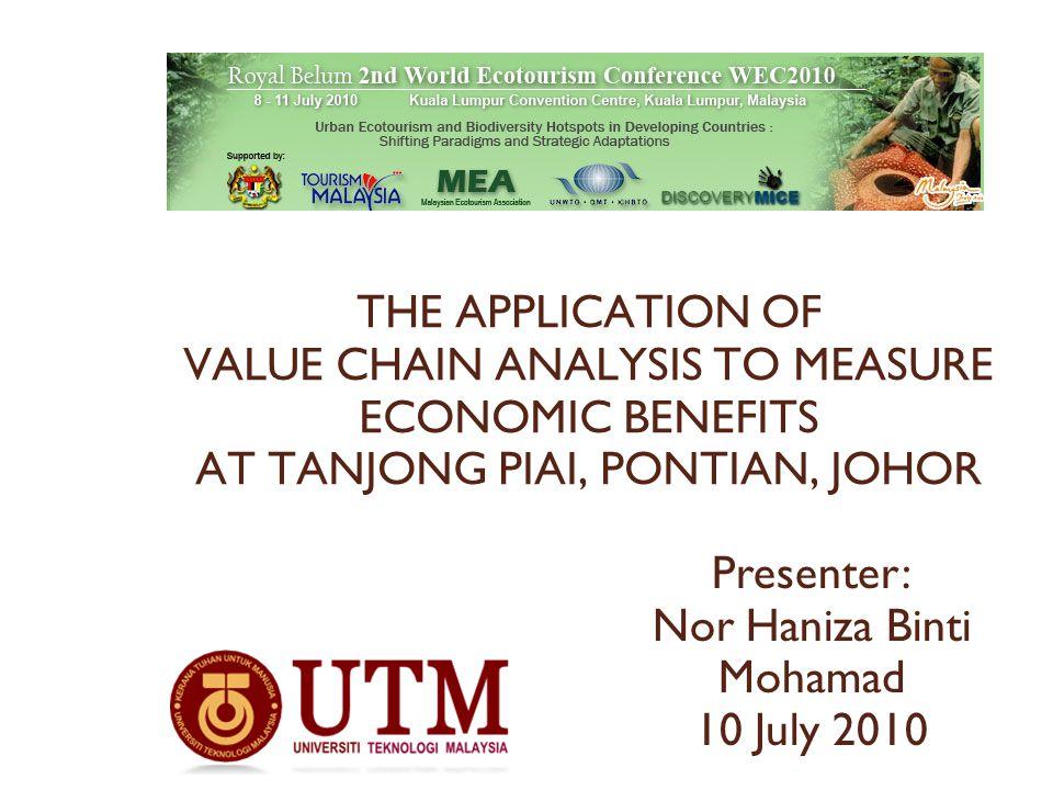 THE APPLICATION OF VALUE CHAIN ANALYSIS TO MEASURE ECONOMIC BENEFITS AT TANJONG PIAI, PONTIAN, JOHOR Presenter: Nor Haniza Binti Mohamad 10 July 2010