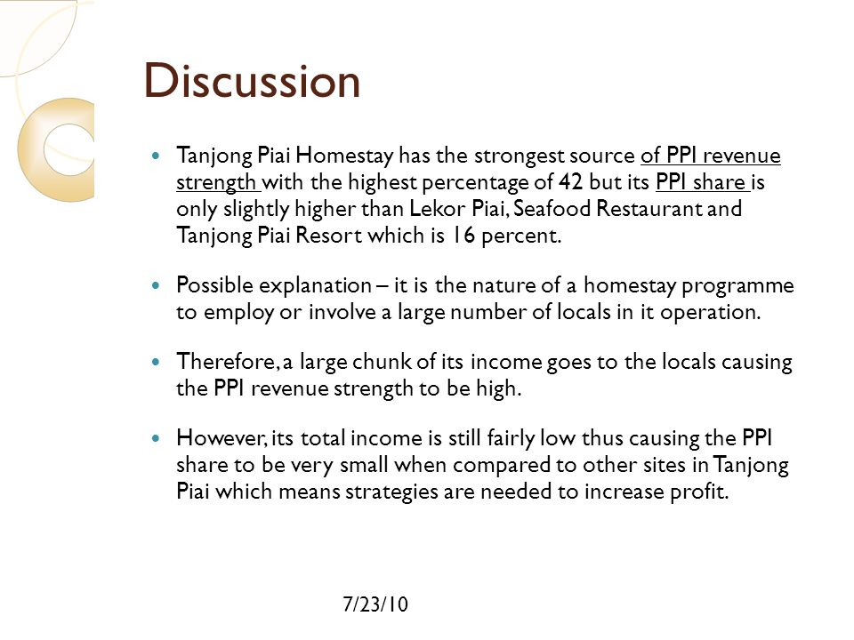 7/23/10 Discussion Tanjong Piai Homestay has the strongest source of PPI revenue strength with the highest percentage of 42 but its PPI share is only