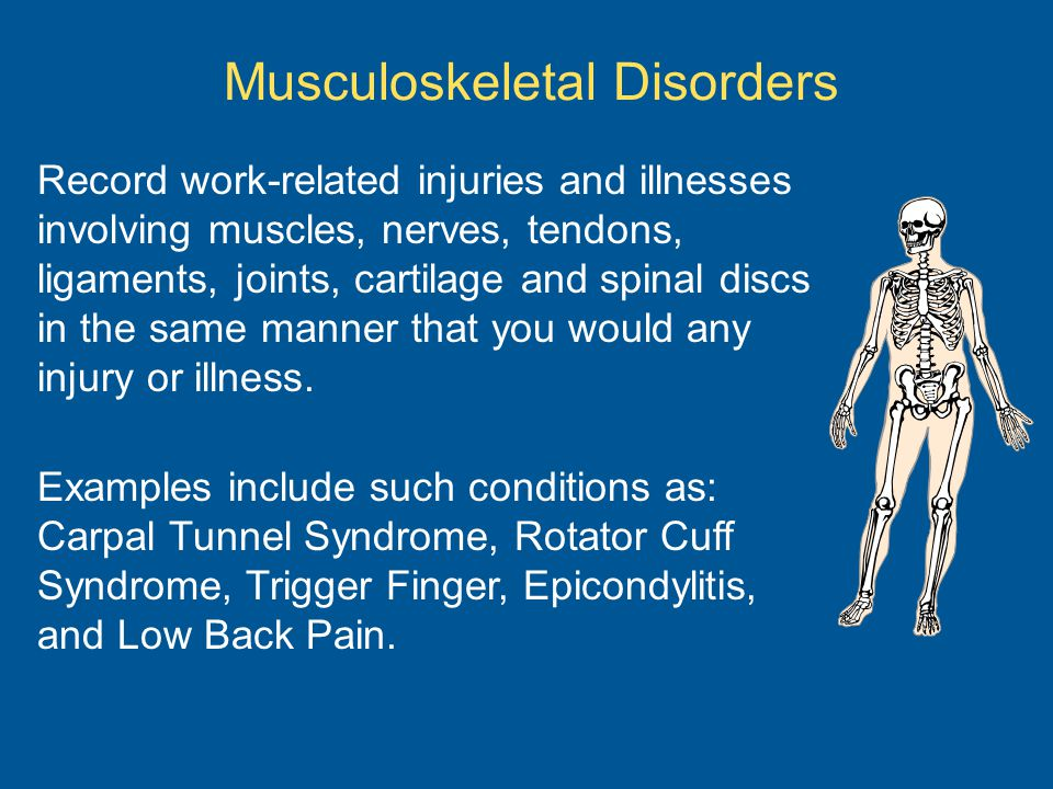 Musculoskeletal Disorders Record work-related injuries and illnesses involving muscles, nerves, tendons, ligaments, joints, cartilage and spinal discs in the same manner that you would any injury or illness.