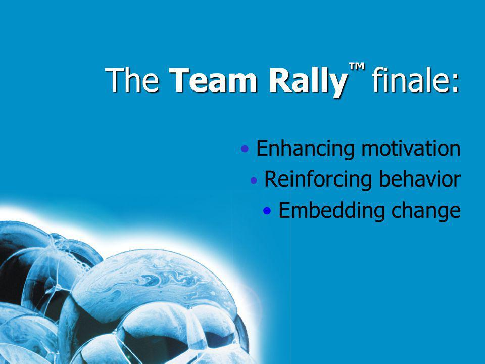 The Team Rally finale: Enhancing motivation Reinforcing behavior Embedding change