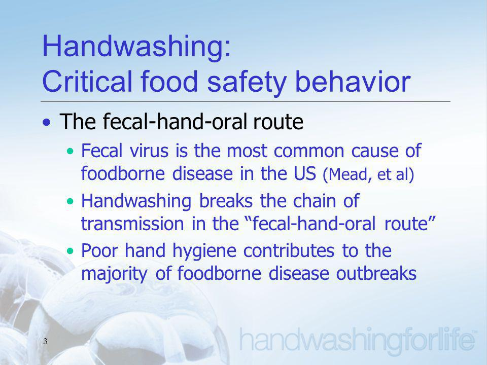 3 Handwashing: Critical food safety behavior The fecal-hand-oral route Fecal virus is the most common cause of foodborne disease in the US (Mead, et al) Handwashing breaks the chain of transmission in the fecal-hand-oral route Poor hand hygiene contributes to the majority of foodborne disease outbreaks