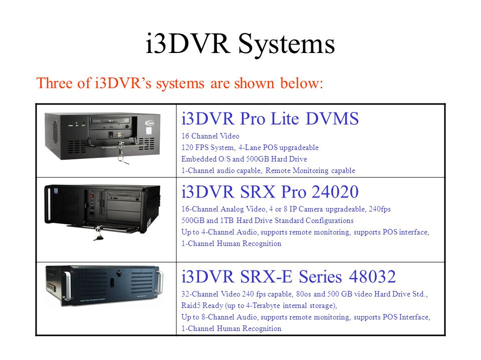 i3DVR Systems i3DVR Pro Lite DVMS 16 Channel Video 120 FPS System, 4-Lane POS upgradeable Embedded O/S and 500GB Hard Drive 1-Channel audio capable, Remote Monitoring capable i3DVR SRX Pro Channel Analog Video, 4 or 8 IP Camera upgradeable, 240fps 500GB and 1TB Hard Drive Standard Configurations Up to 4-Channel Audio, supports remote monitoring, supports POS interface, 1-Channel Human Recognition i3DVR SRX-E Series Channel Video 240 fps capable, 80os and 500 GB video Hard Drive Std., Raid5 Ready (up to 4-Terabyte internal storage), Up to 8-Channel Audio, supports remote monitoring, supports POS Interface, 1-Channel Human Recognition Three of i3DVRs systems are shown below: