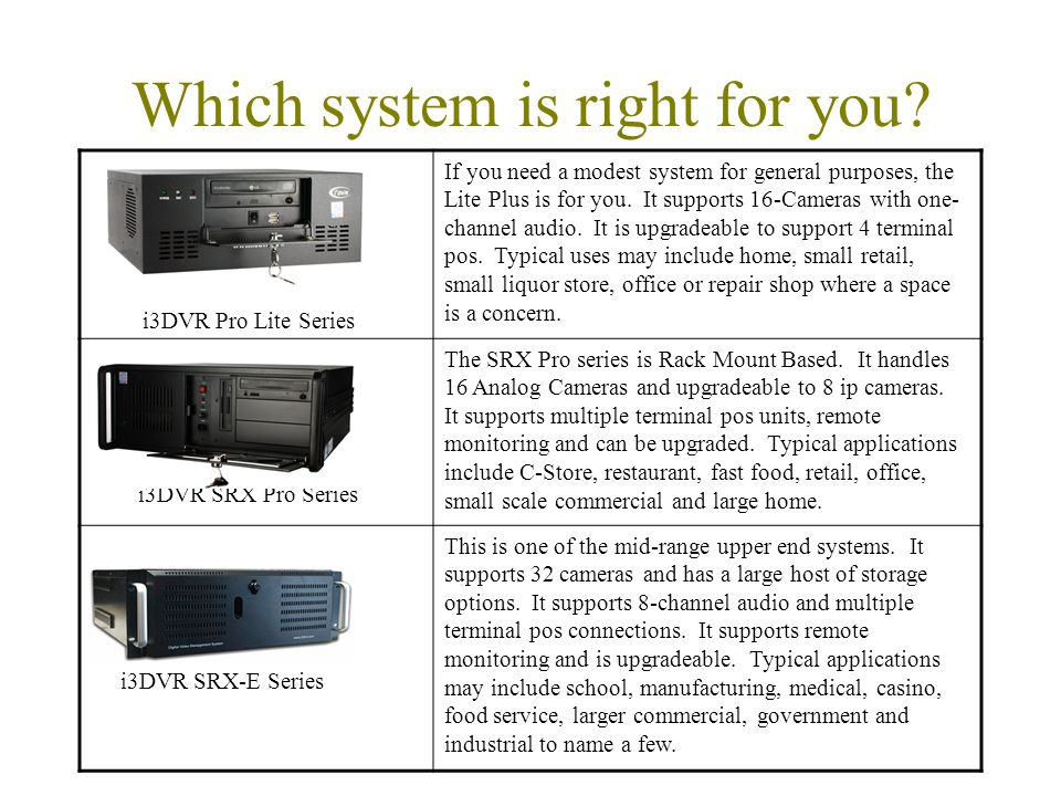 Which system is right for you.
