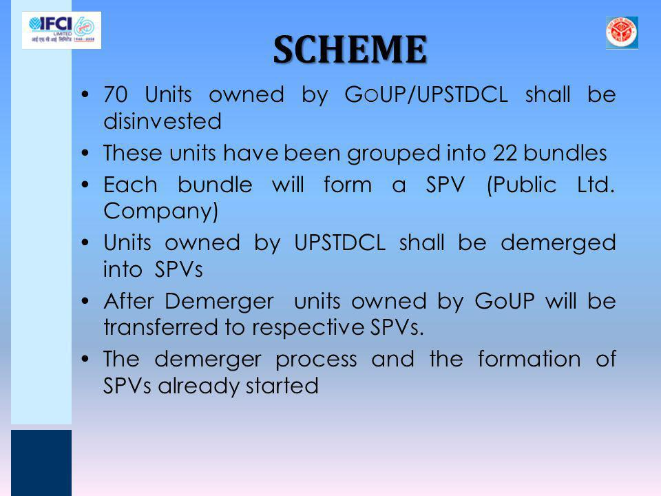 SCHEME… 76% of equity share of each SPV shall be disinvested 24% of equity share of each SPV shall be retained by G O UP which may be allowed to come down to 11% Employees will be offered VRS before disinvestment Remaining employees in units will be transferred to respective SPVs Terminal Dues like Gratuity and Leave Encashment of remaining employees as on date of transfer would be funded by GoUP and kept in separate Account.