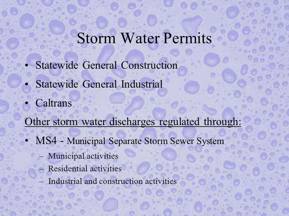 Storm Water NPDES Permits Unlike most NPDES permits, storm water permits are not required to have numeric discharge limits, but nothing prohibits the inclusion of such limits.