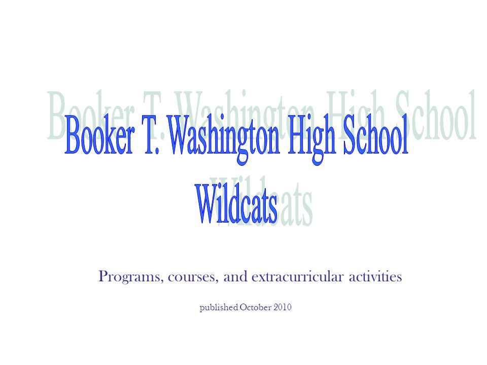Programs, courses, and extracurricular activities published October 2010