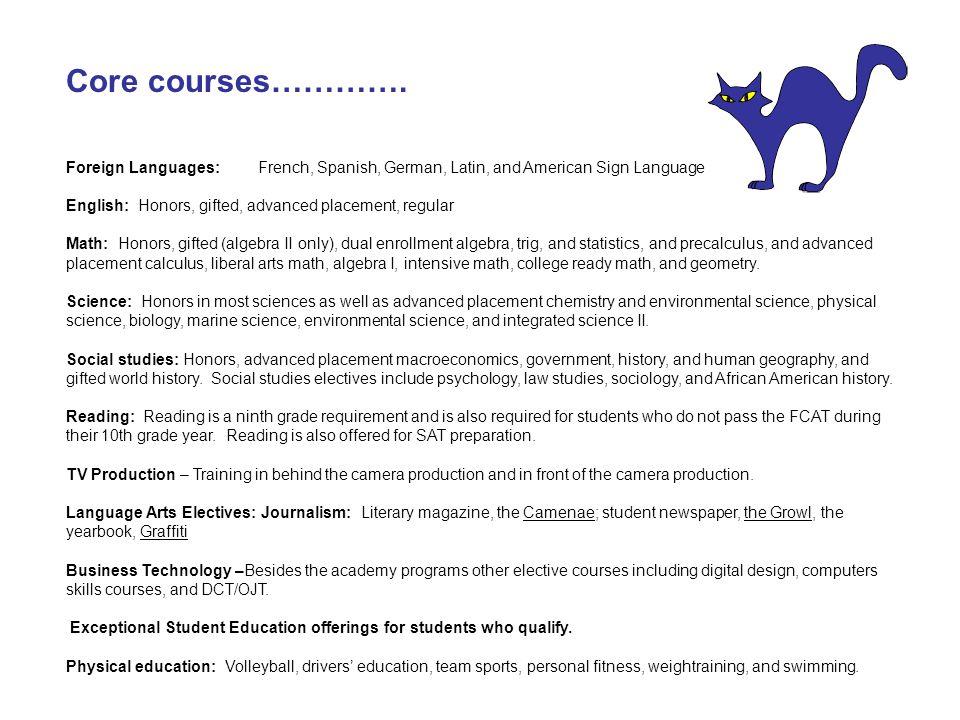Core courses………….