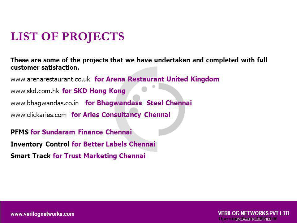 www.verilognetworks.com VERILOG NETWORKS PVT LTD DREAMS REDEFINED LIST OF PROJECTS Operating Profit 2003-2006 These are some of the projects that we h