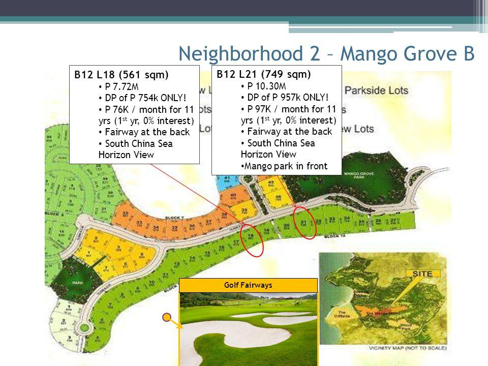 Neighborhood 2 – Mango Grove B Golf Fairways B12 L21 (749 sqm) P 10.30M DP of P 957k ONLY! P 97K / month for 11 yrs (1 st yr, 0% interest) Fairway at