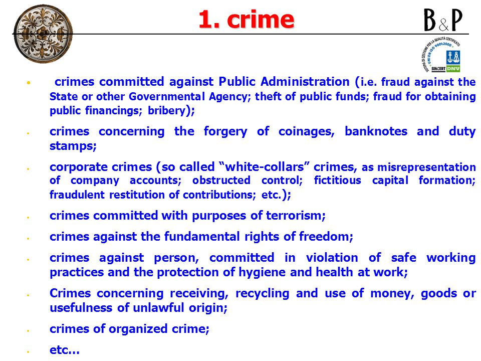 1. crime crimes committed against Public Administration ( i.e.