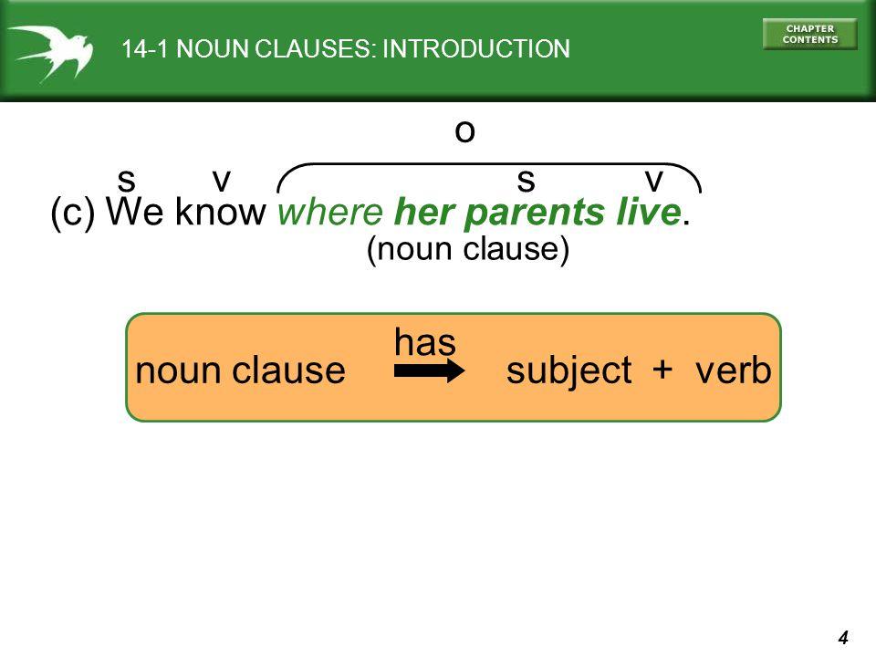 5 14-1 NOUN CLAUSES: INTRODUCTION (d) We know where her parents live.