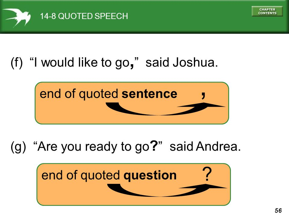 56 14-8 QUOTED SPEECH (f) I would like to go, said Joshua. end of quoted sentence, (g) Are you ready to go ? said Andrea. end of quoted question ?