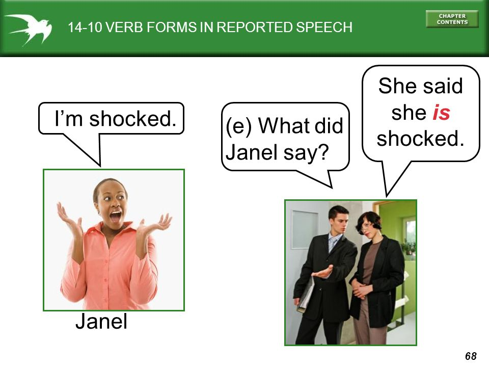 68 (e) What did Janel say? Im shocked. She said she is shocked. Janel 14-10 VERB FORMS IN REPORTED SPEECH