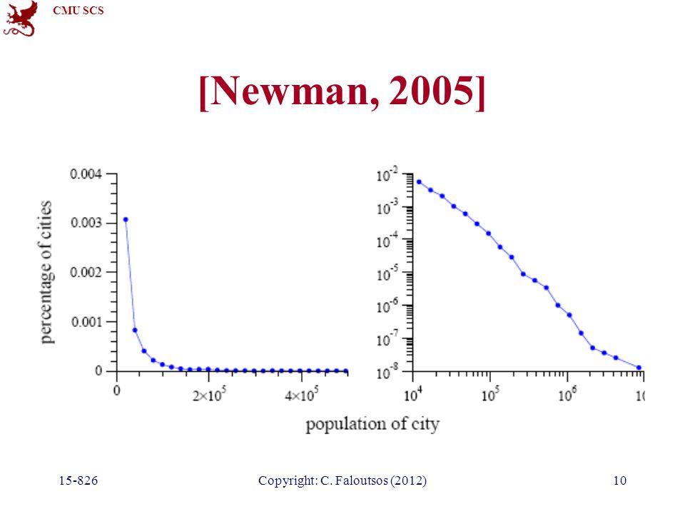 CMU SCS 15-826Copyright: C. Faloutsos (2012)10 [Newman, 2005]