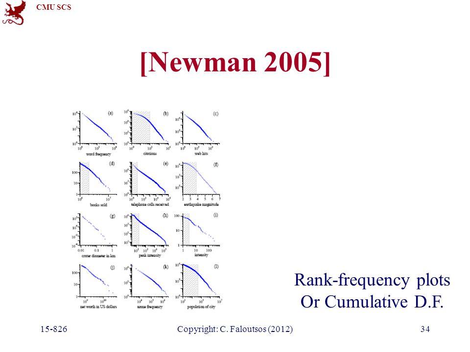 CMU SCS 15-826Copyright: C. Faloutsos (2012)34 [Newman 2005] Rank-frequency plots Or Cumulative D.F.