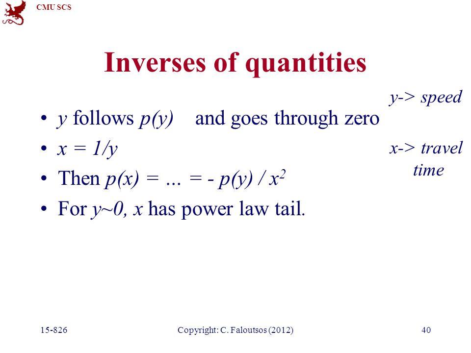 CMU SCS 15-826Copyright: C. Faloutsos (2012)40 Inverses of quantities y follows p(y) and goes through zero x = 1/y Then p(x) = … = - p(y) / x 2 For y~