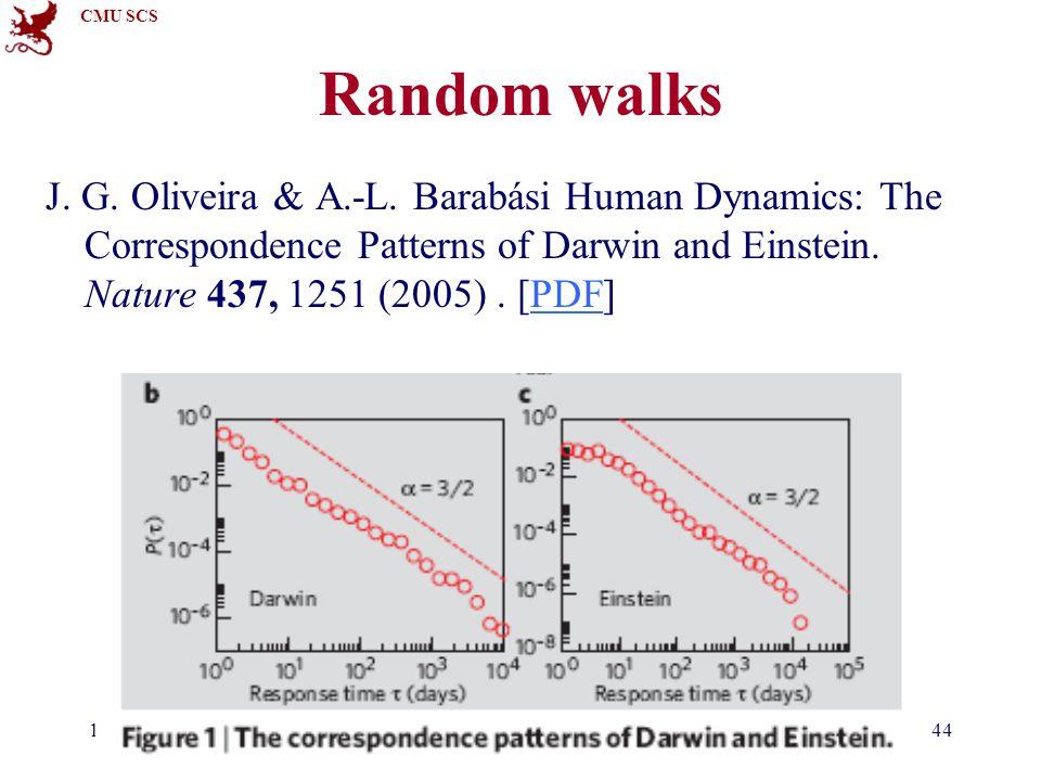 CMU SCS 15-826Copyright: C. Faloutsos (2012)44 Random walks J. G. Oliveira & A.-L. Barabási Human Dynamics: The Correspondence Patterns of Darwin and