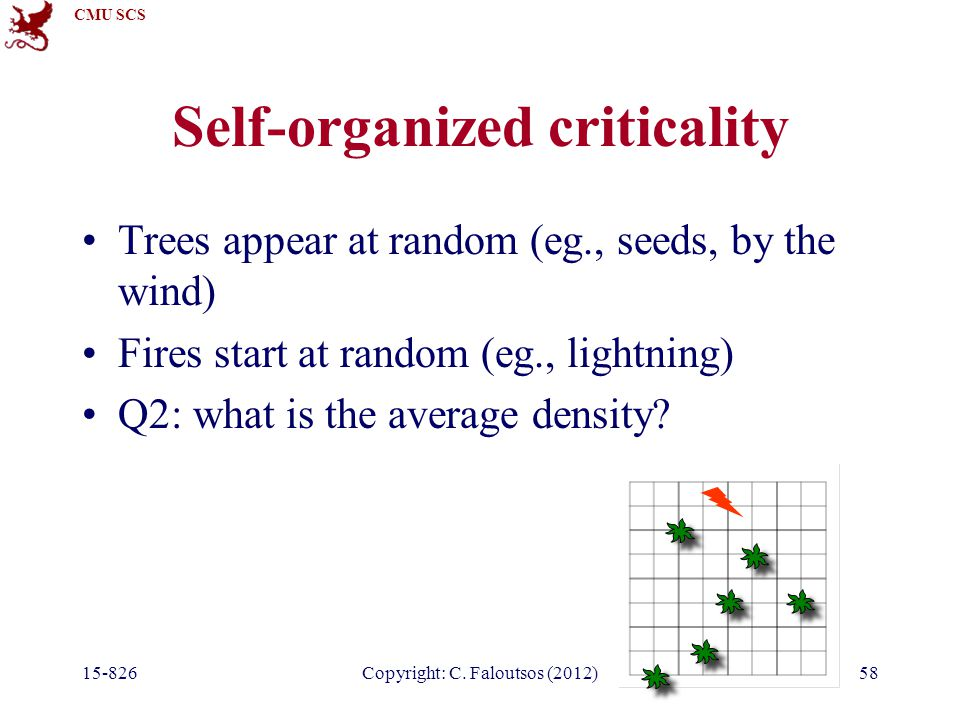 CMU SCS 15-826Copyright: C. Faloutsos (2012)58 Self-organized criticality Trees appear at random (eg., seeds, by the wind) Fires start at random (eg.,