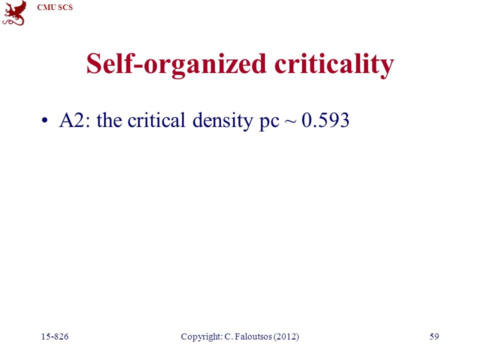 CMU SCS 15-826Copyright: C. Faloutsos (2012)59 Self-organized criticality A2: the critical density pc ~ 0.593