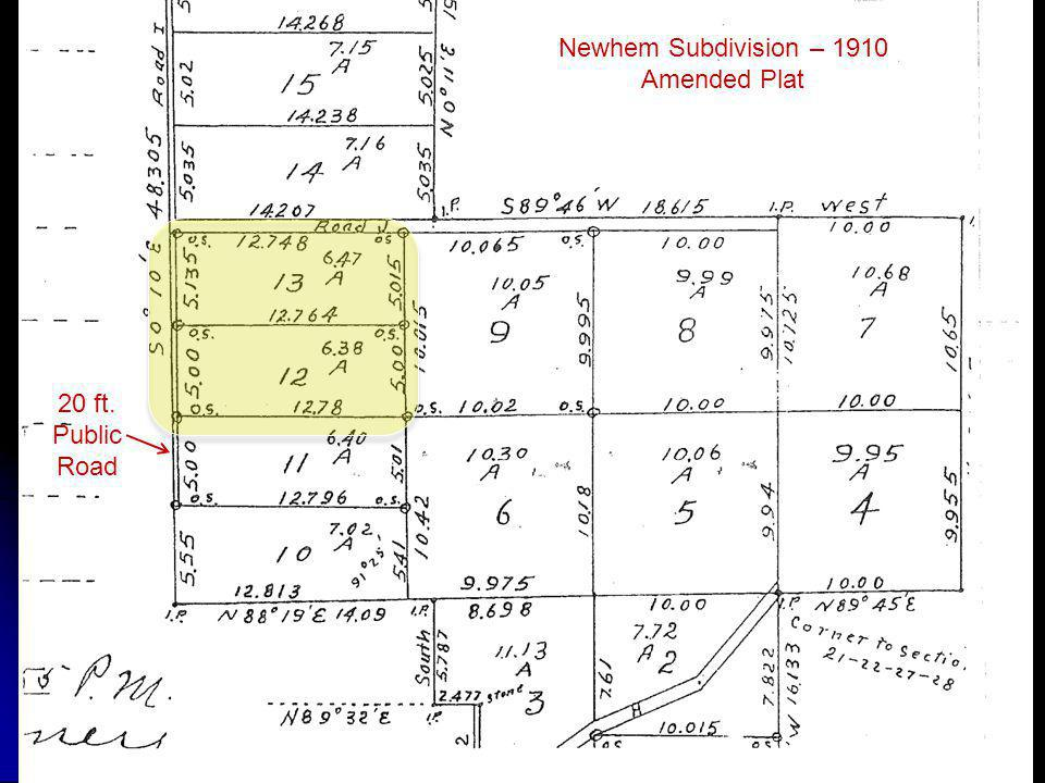 Newhem Subdivision – 1910 Amended Plat 20 ft. Public Road