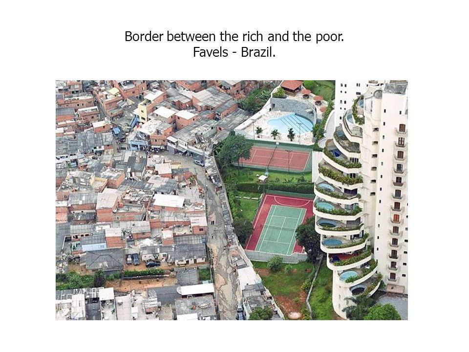 Border between the rich and the poor. Favels - Brazil.