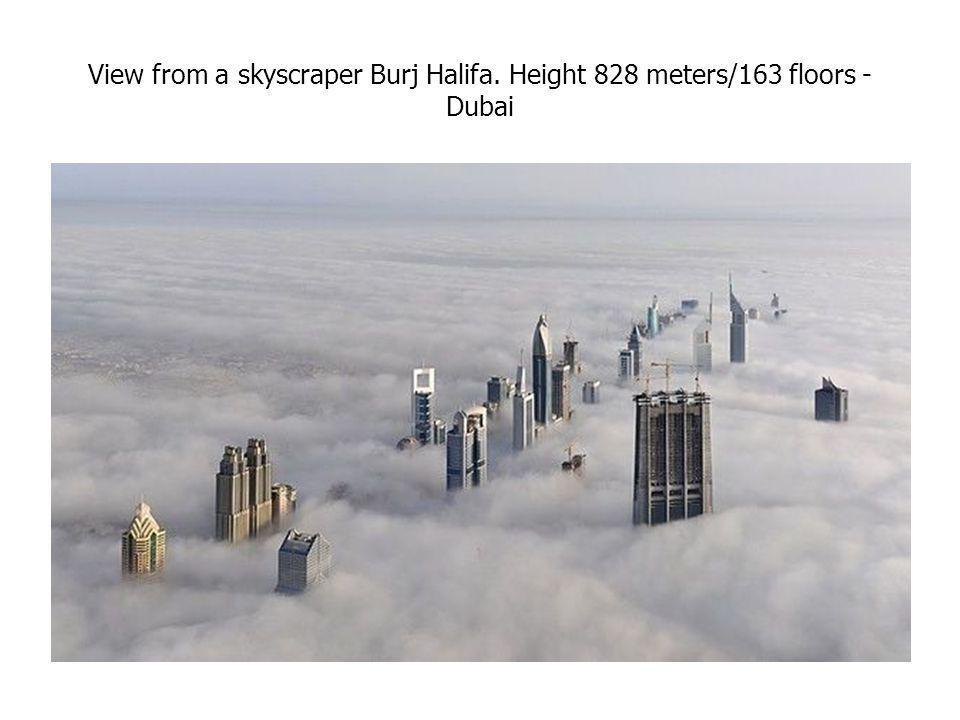 View from a skyscraper Burj Halifa. Height 828 meters/163 floors - Dubai