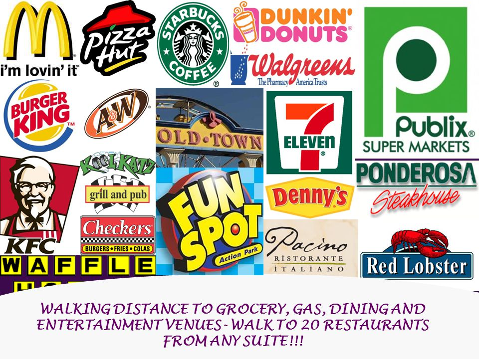 WALKING DISTANCE TO GROCERY, GAS, DINING AND ENTERTAINMENT VENUES- WALK TO 20 RESTAURANTS FROM ANY SUITE!!!