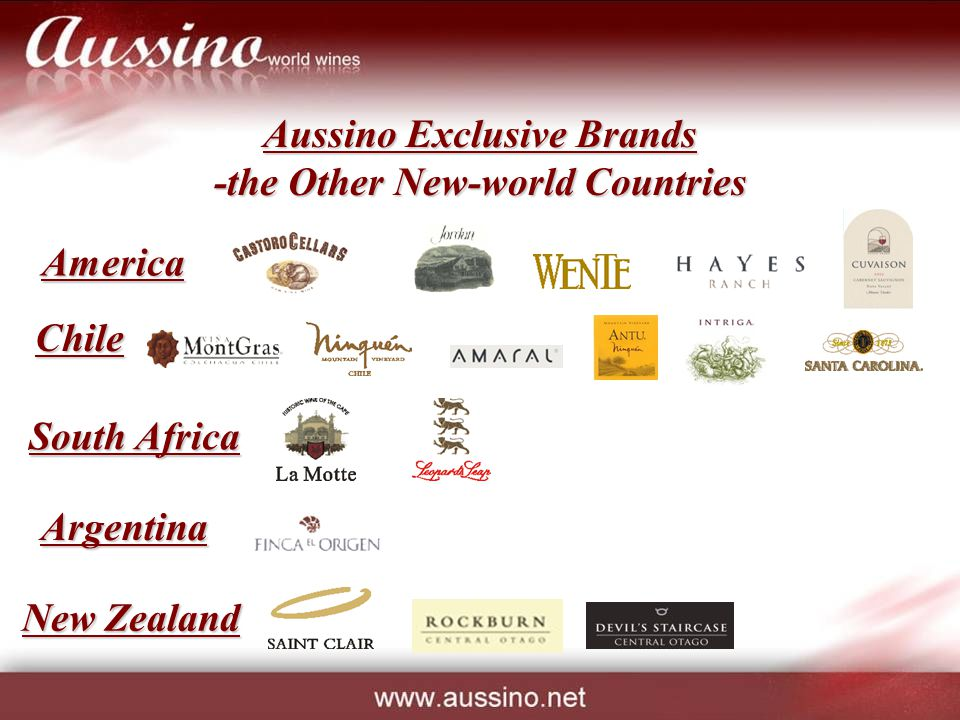 Aussino Exclusive Brands -the Other New-world Countries Chile South Africa Argentina America New Zealand