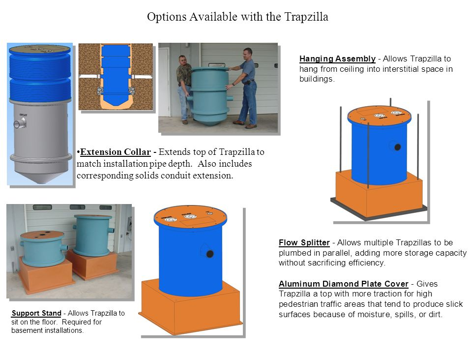 Options Available with the Trapzilla Extension Collar - Extends top of Trapzilla to match installation pipe depth. Also includes corresponding solids