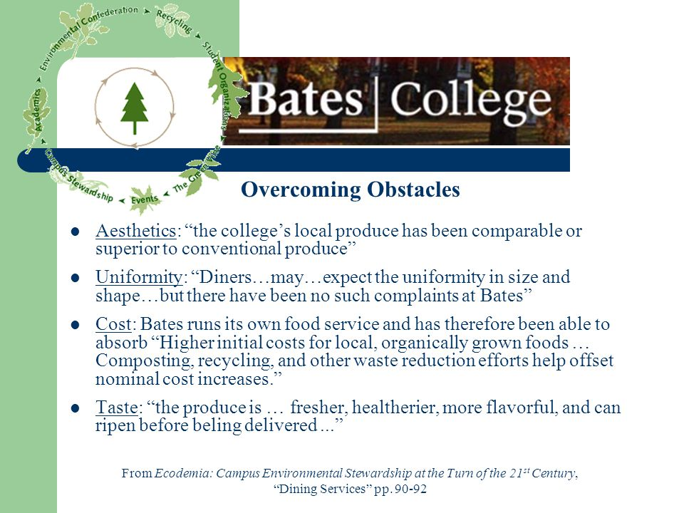 Overcoming Obstacles Aesthetics: the colleges local produce has been comparable or superior to conventional produce Uniformity: Diners…may…expect the uniformity in size and shape…but there have been no such complaints at Bates Cost: Bates runs its own food service and has therefore been able to absorb Higher initial costs for local, organically grown foods … Composting, recycling, and other waste reduction efforts help offset nominal cost increases.