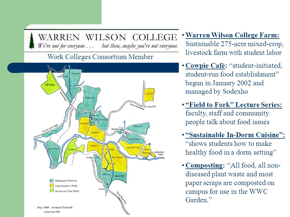 Warren Wilson College Farm: Sustainable 275-acre mixed-crop, livestock farm with student labor Cowpie Café: student-initiated, student-run food establ