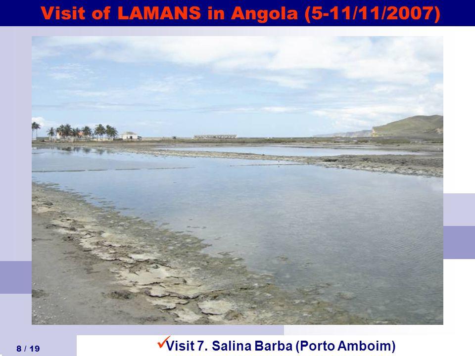 Visit of LAMANS in Angola (5-11/11/2007) 8 / 19 Visit 7. Salina Barba (Porto Amboim)