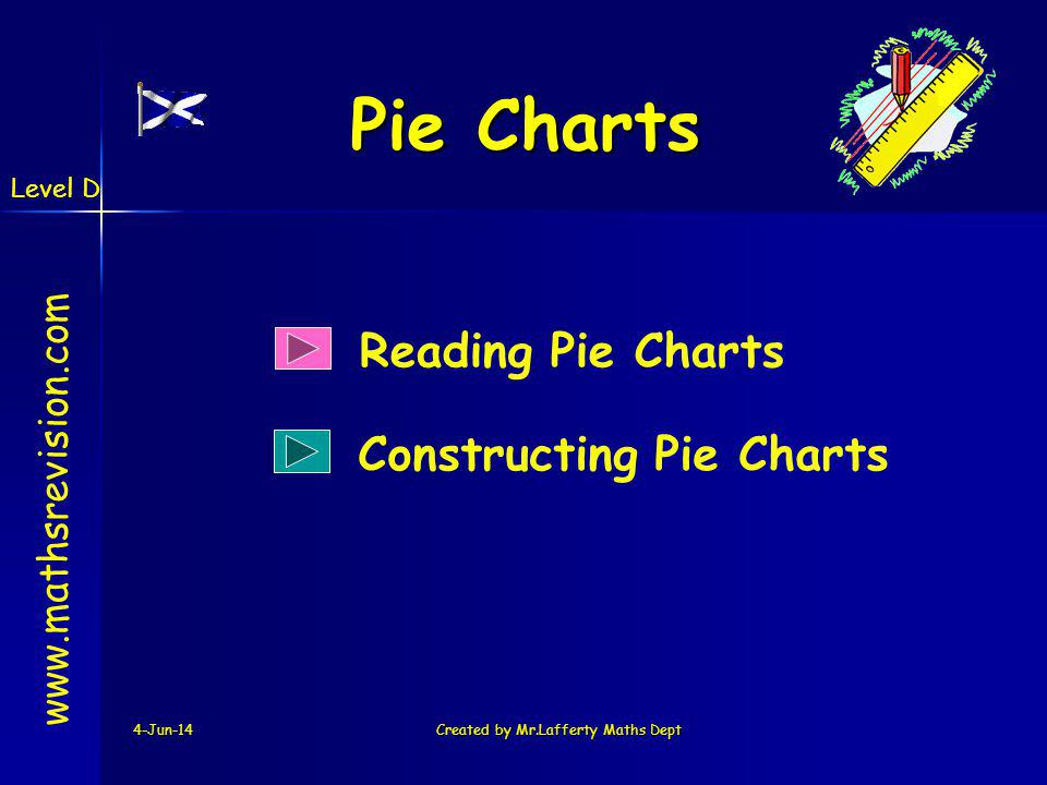 Level D 4-Jun-14Created by Mr.Lafferty Maths Dept Pie Charts Reading Pie Charts www.mathsrevision.com Constructing Pie Charts