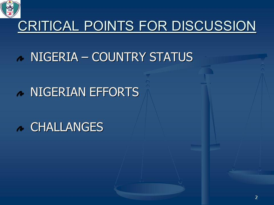3 NIGERIA – COUNTRY STATUS A1. Background A1. Background A2. TIP Status A2. TIP Status