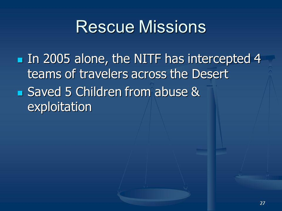 27 Rescue Missions In 2005 alone, the NITF has intercepted 4 teams of travelers across the Desert In 2005 alone, the NITF has intercepted 4 teams of travelers across the Desert Saved 5 Children from abuse & exploitation Saved 5 Children from abuse & exploitation