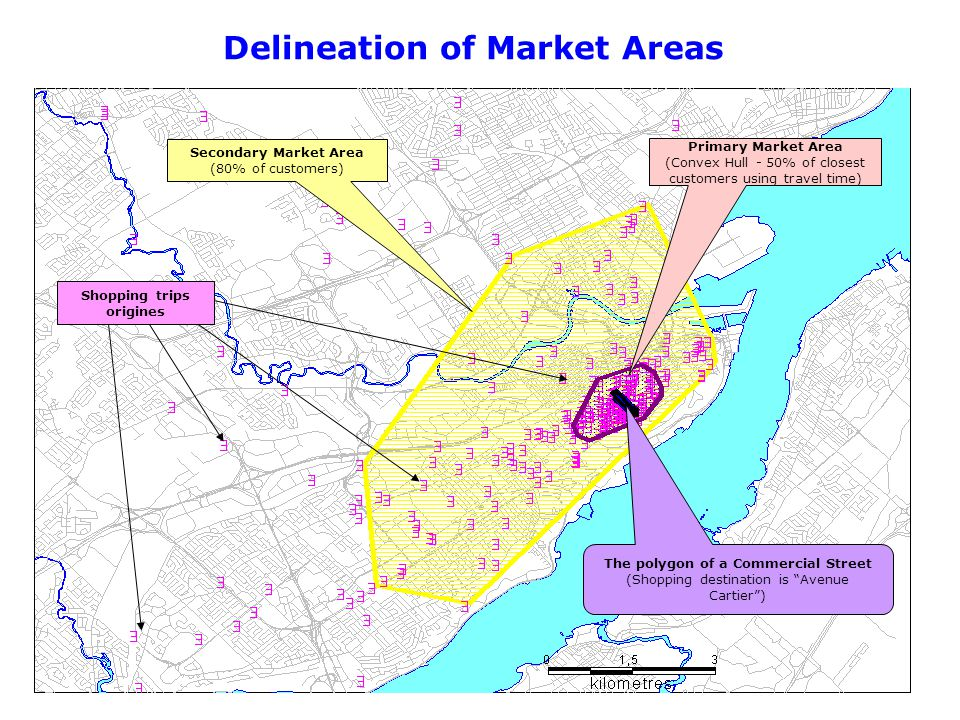 Delineation of Market Areas Primary Market Area (Convex Hull - 50% of closest customers using travel time) Secondary Market Area (80% of customers) Th