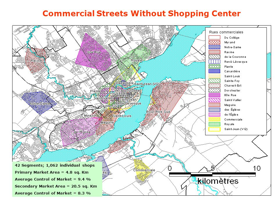 Commercial Streets Without Shopping Center 42 Segments; 1,062 individual shops Primary Market Area = 4.8 sq. Km Average Control of Market = 9.4 % Seco