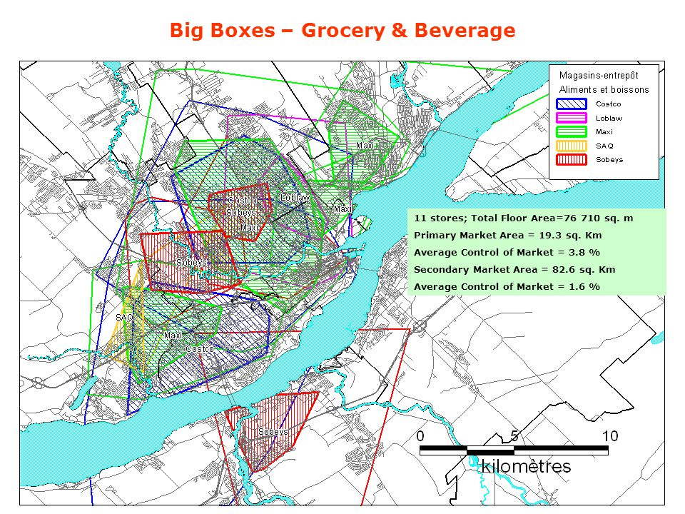 Big Boxes – Grocery & Beverage 11 stores; Total Floor Area=76 710 sq.