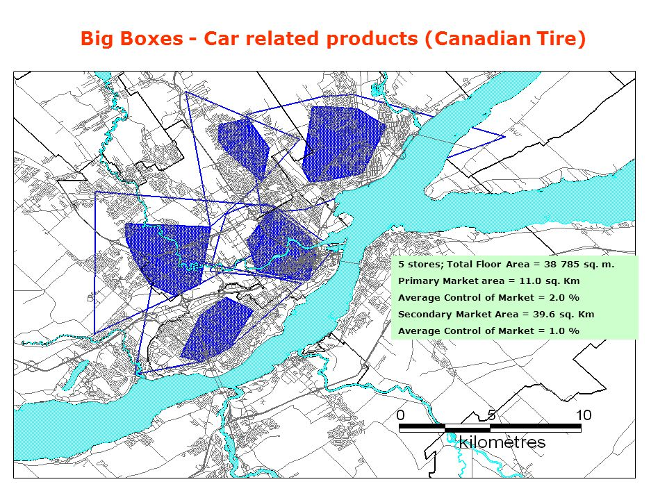 Big Boxes - Car related products (Canadian Tire) 5 stores; Total Floor Area = 38 785 sq. m. Primary Market area = 11.0 sq. Km Average Control of Marke