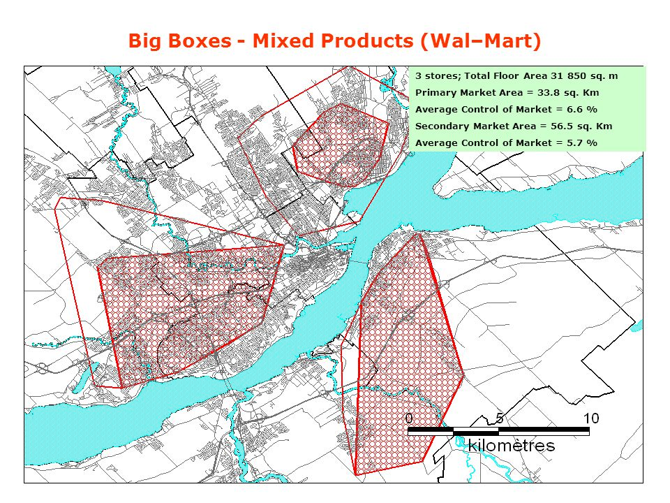 Big Boxes - Mixed Products (Wal–Mart) 3 stores; Total Floor Area 31 850 sq.