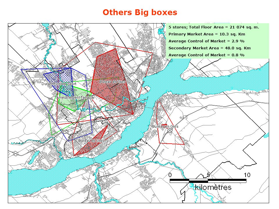Others Big boxes 5 stores; Total Floor Area = 21 074 sq. m. Primary Market Area = 10.3 sq. Km Average Control of Market = 2.9 % Secondary Market Area